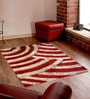 Red And Beige Polyester Abstract Shaggy Area Rug by Presto