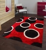 Red And Black Polyester Geometrical Shaggy Area Rug by Presto