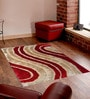 Presto Red And Ivory Polyester Abstract Shaggy Area Rug