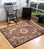 Red Viscose Rectangular Ethnic Area Rug by Presto