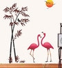 PVC Wall Stickers Beautiful Flamingo Birds Bamboo Tree Sunset by Print Mantras