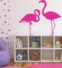 PVC Wall Stickers Beautiful Flamingo Birds with Pink and Purple Dots by Print Mantras