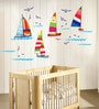 PVC Wall Stickers Beautifuls Boats in Sea and Birds by Print Mantras