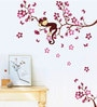 PVC Wall Stickers Wall Decals Pink Branches Monkey by Print Mantras