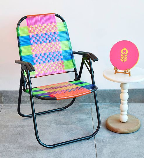buy psychedelic metal plastic cane foldable relaxing chair by 1bhk