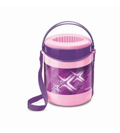 Purple Plastic & Stainless Steel Lunch Box With Leak Lock 3 Containers