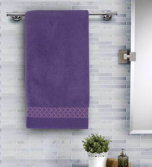 Purple Cotton 550 Gsm Bath Towel By