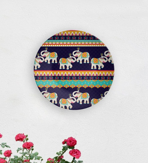 Blue Elephant Boom Ceramic Decorative Wall Plate By Quirk India