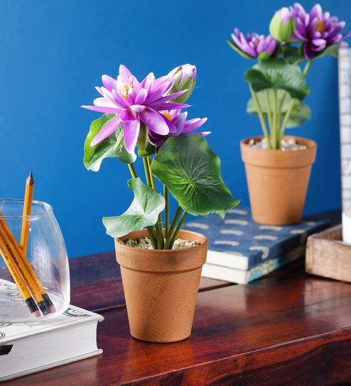 Buy Purple Pp Pvc Artificial Lotus Flowers With Pot Set Of 2 By