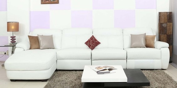 Buy Three Seater Sofa with RHS Lounger in White Genuine Leather by ...