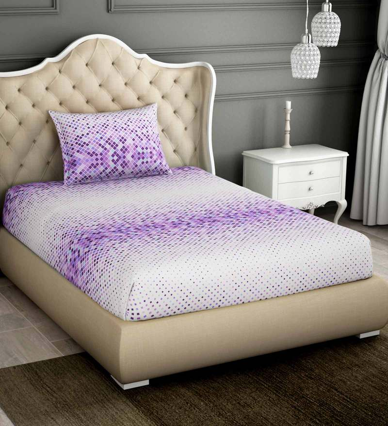 2eae8dc0a3 Buy Purple 100% Cotton Single Bed Sheet With 1 Pillow Cover By ...