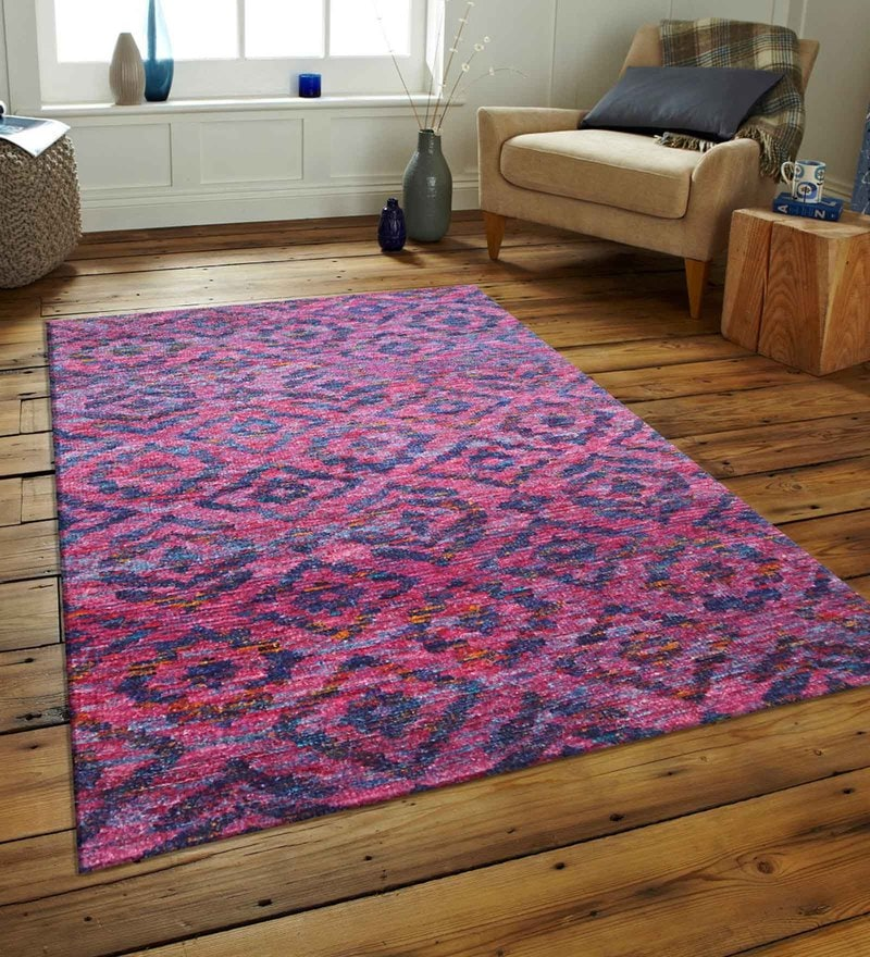 Purple Bamboo Silk 60 x 96 Inch Hand Knotted Cho-Cho Modern Design Carpet by Designs View