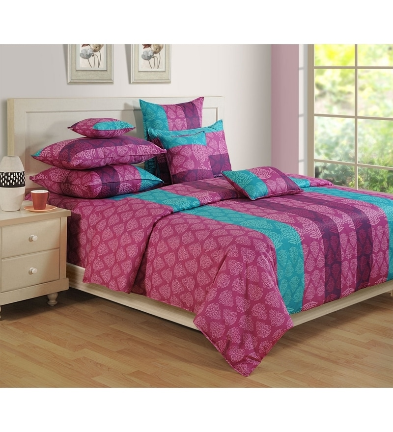 Purple Cotton King Size Bedsheet - Set of 3 by Swayam