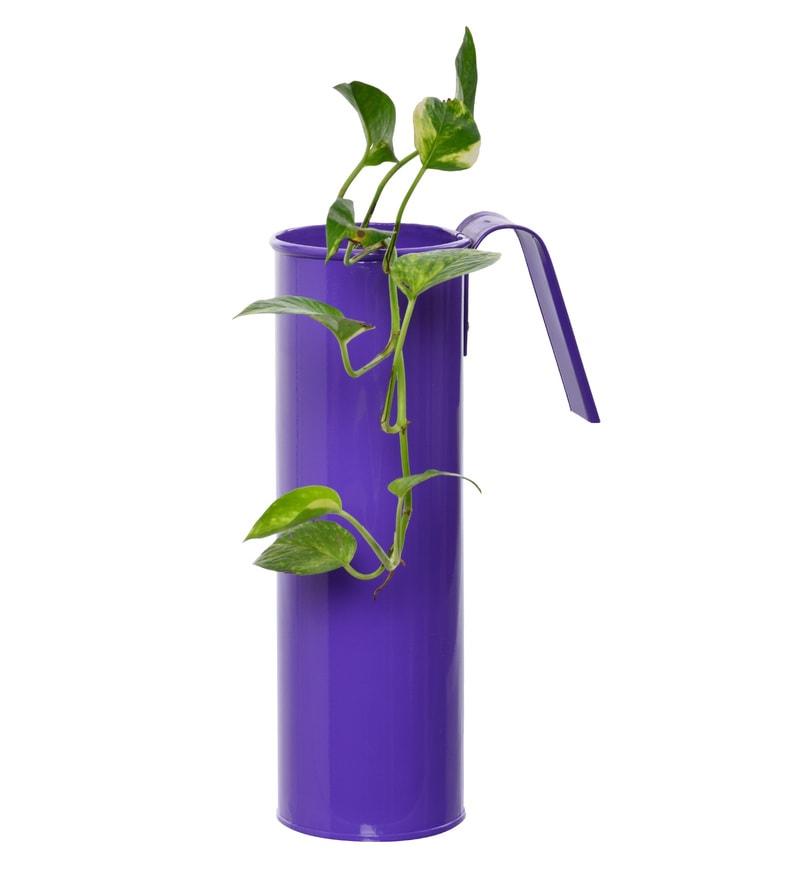 Purple Metal Cylindrical Railing Planter by Green Gardenia