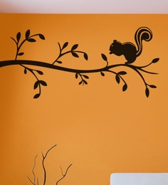 PVC Vinyl 55 X 26 Inch Black Tree Branches And Cute Squirrel Wall Sticker