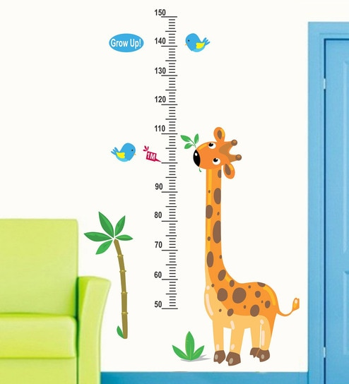 buy pvc vinyl 30 x 48 inch cute giraffe height chart birds wall