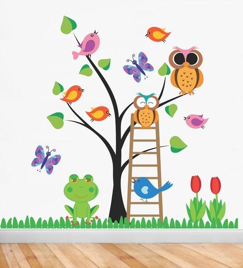 7de35540b5 Buy PVC Vinyl 41 x 40 Inch Tree Birds Butterfly Flowers Wall Sticker by  Print Mantras Online - Kids Wall Stickers - Wall Stickers - Wall Art -  Pepperfry ...