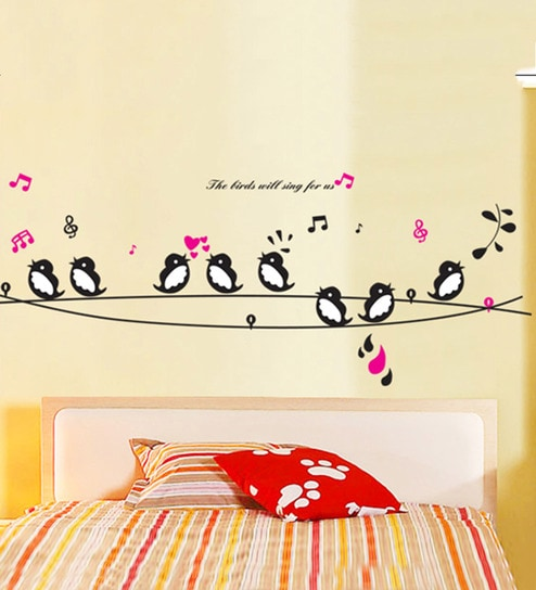 Pvc vinyl 56 x 35 inch birds on a branch will sing for us wall sticker