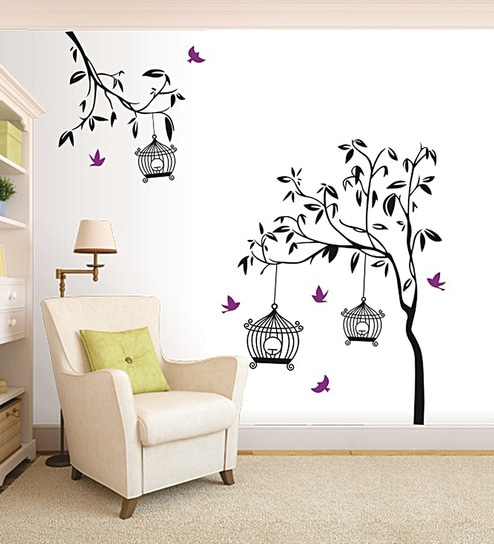 PVC Vinyl 65 X 52 Inch Black Tree Birds And Cage Wall Sticker By Print  Mantras
