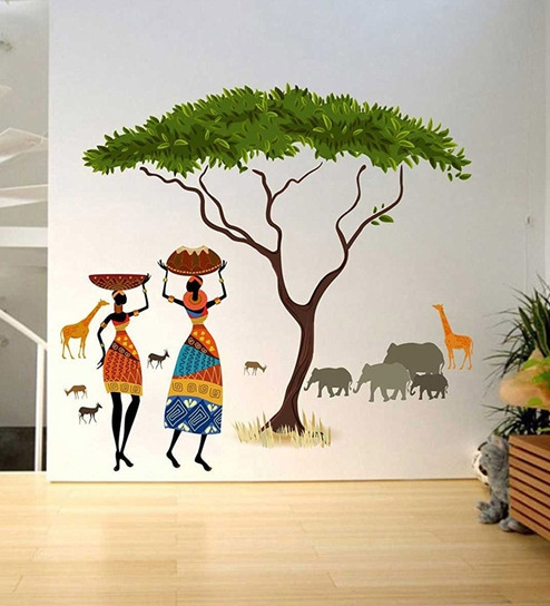 nature wall art living room pvc vinyl artistic tribal ladies with animals nature wall sticker by walltola buy