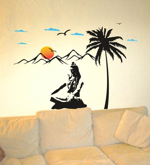 3474cbafd60 Buy PVC Vinyl Beautiful Shiva on Kailash Wall Sticker by Decor Kafe Online  - Spiritual Wall Stickers - Wall Stickers - Wall Art - Pepperfry Product