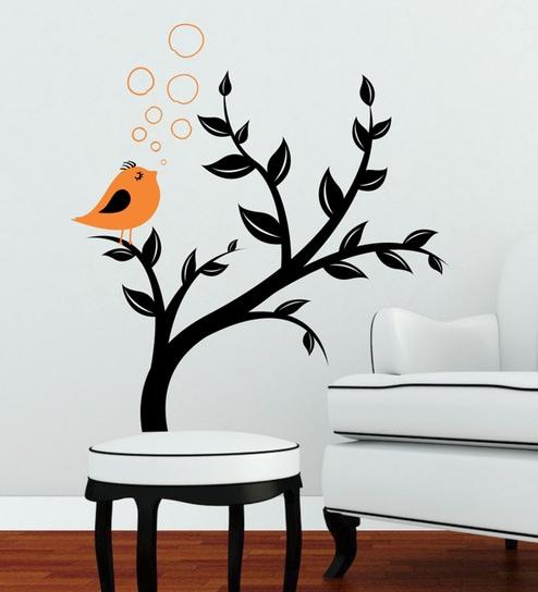 buy pvc vinyl bird orange wall stickerdecor kafe online - animal