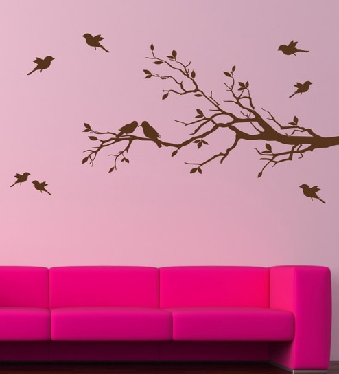 19810acf495 Buy PVC Vinyl Branch   Birds Wall Sticker by Decor Kafe Online - Animal Wall  Stickers - Wall Stickers - Wall Art - Pepperfry Product