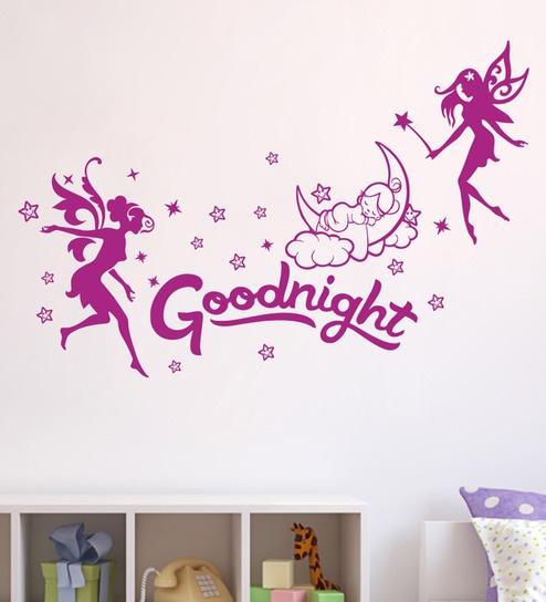 Buy Pvc Vinyl Decor Kafe Night Angels Wall Sticker Wall Sticker By