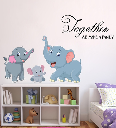 buy pvc vinyl elephant family wall stickerdecor kafe online