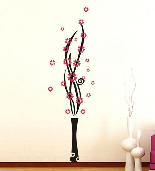 buy pvc vinyl flower pot wall stickerdecor kafe online - floral