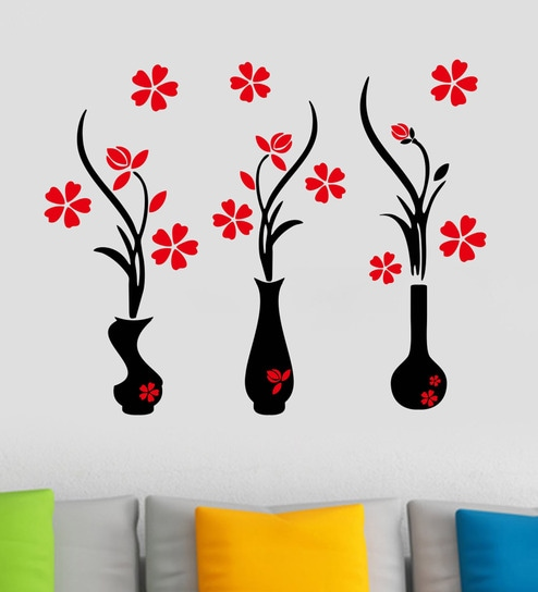 5342438edca Buy PVC Vinyl Flower Pots Wall Sticker by Decor Kafe Online - Floral Wall  Stickers - Wall Stickers - Wall Art - Pepperfry Product