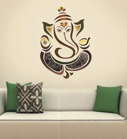 Pvc vinyl modern elegant ganesha god for pooja room wall sticker by walltola