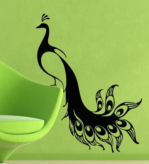 buy pvc vinyl peacock wall stickerdecor kafe online - animal