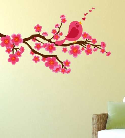 Buy Pvc Vinyl Pink Birds Flowers Wall Sticker By Decor Kafe Online