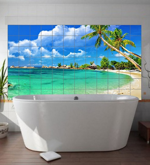 Buy Pvc Vinyl Self Adhesive Beach For Bathroom Wall Stickers By