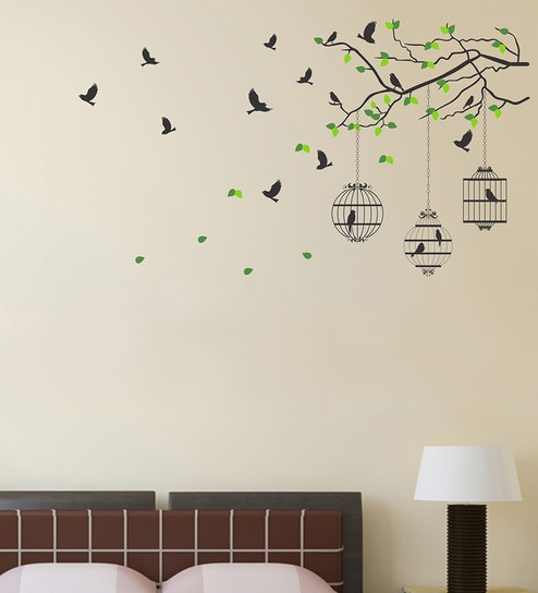 Buy Pvc Vinyl Tree Branches With Leaves Birds Cages Wall Sticker