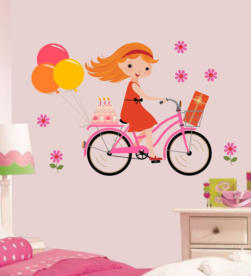PVC Vinyl 34 x 24 Inch Cute Little Girl on Cycle Balloons Wall Sticker by Print Mantras