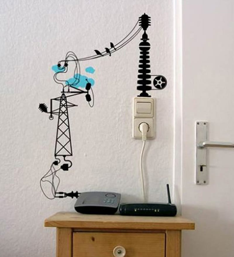 buy pvc vinyl creative switchboard electrical cord design vinyl wall