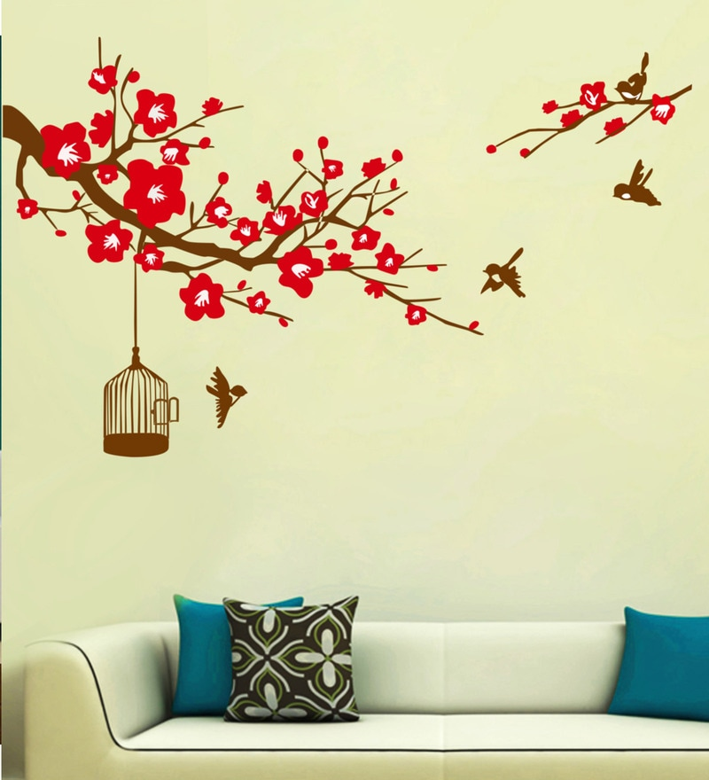 PVC Vinyl Red Branch Cage Wall Sticker by Decor Kafe