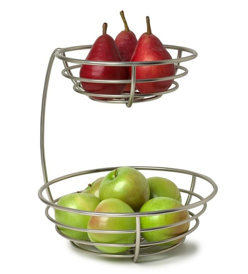 Qesyas Silver 2 Tier Metal Fruit Basket