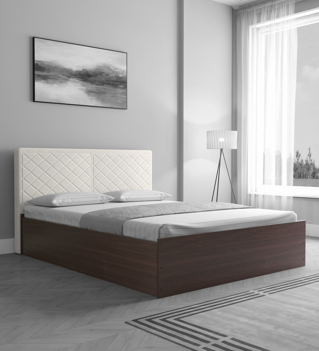 Buy Qunitino Queen Size Bed With Upholstered Headboard In Walnut Finish Casacraft By Pepperfry Online Modern Queen Size Beds Beds Furniture Pepperfry Product