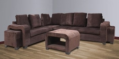 Quanto Sectional Sofa with 2 Pouffes & Center Table in Chocolate Brown Colour