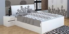 Queen Bed with Hydraulic Storage in White & Black Colour