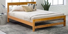 Queen Size Bed in Natural Teak Wood Finish
