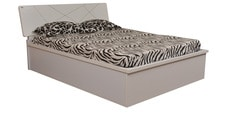 Queen Bed with Hydraulic Storage in White Colour