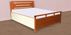 Queen Size Bed with Hydraulic Storage in Cream & Coffee Finish