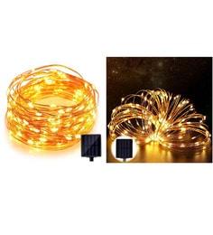 Solar Light 60 Pcs Yellow LED Festival Copper String Light Diwali Home Decoration