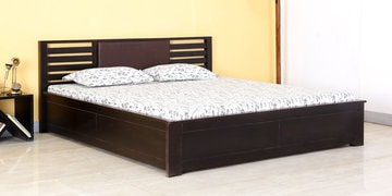 Queen Bed With Box Storage In Warm Chestnut Finish