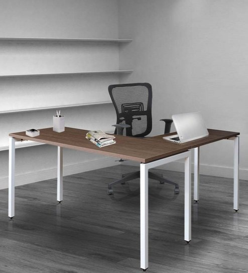Quantum Executive Table In Chocolate Sawline U0026 White Finish By Crystal  Furnitech