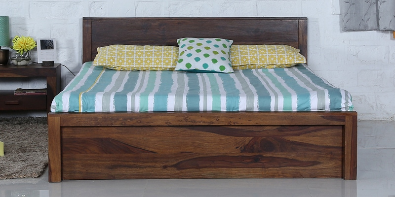 Acropolis Queen Bed with Box Storage in Provincial Teak Finish by Woodsworth